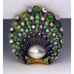 Antique Demantoid, Diamond natural Pearl Brooch England C.1890  Preview