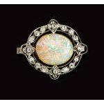 Murrle Bennett Edwardian Platinum 18K Opal Diamond Brooch, C.1910  Preview