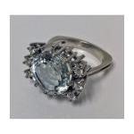 Aquamarine and Diamond Ring,14K white gold. Preview