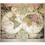 "M-13395 - ""Planiglobii Terestris..."" World Map w CA as island - Homann c 1710-15 Preview"
