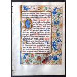 IM-11640 - Medieval Book of Hours Leaf in Dutch - wonderful creature in margin! Preview