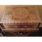 British Colonial Ivory Inlaid Shisham Wood Workbox On Stand Preview